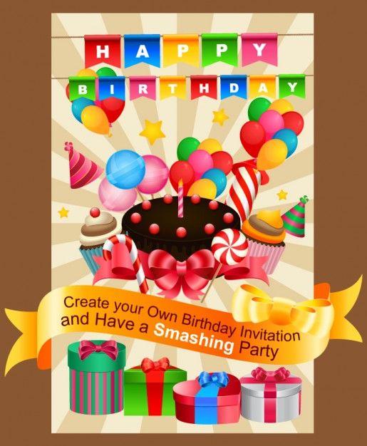 Happy birthday invitation card | first birthday ideas | Pinterest ...