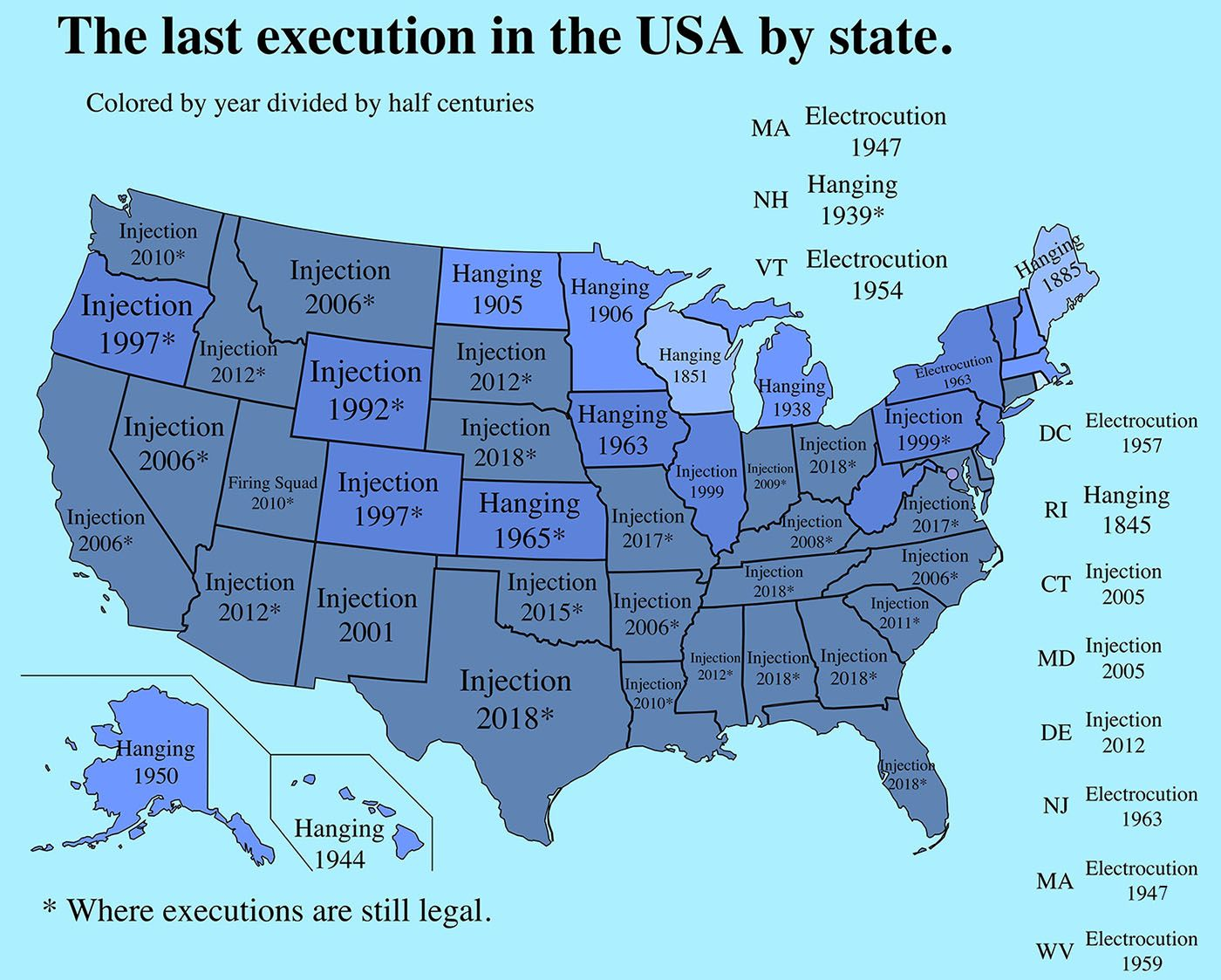 The last execution in the U.S. and Europe by state/country | United ...