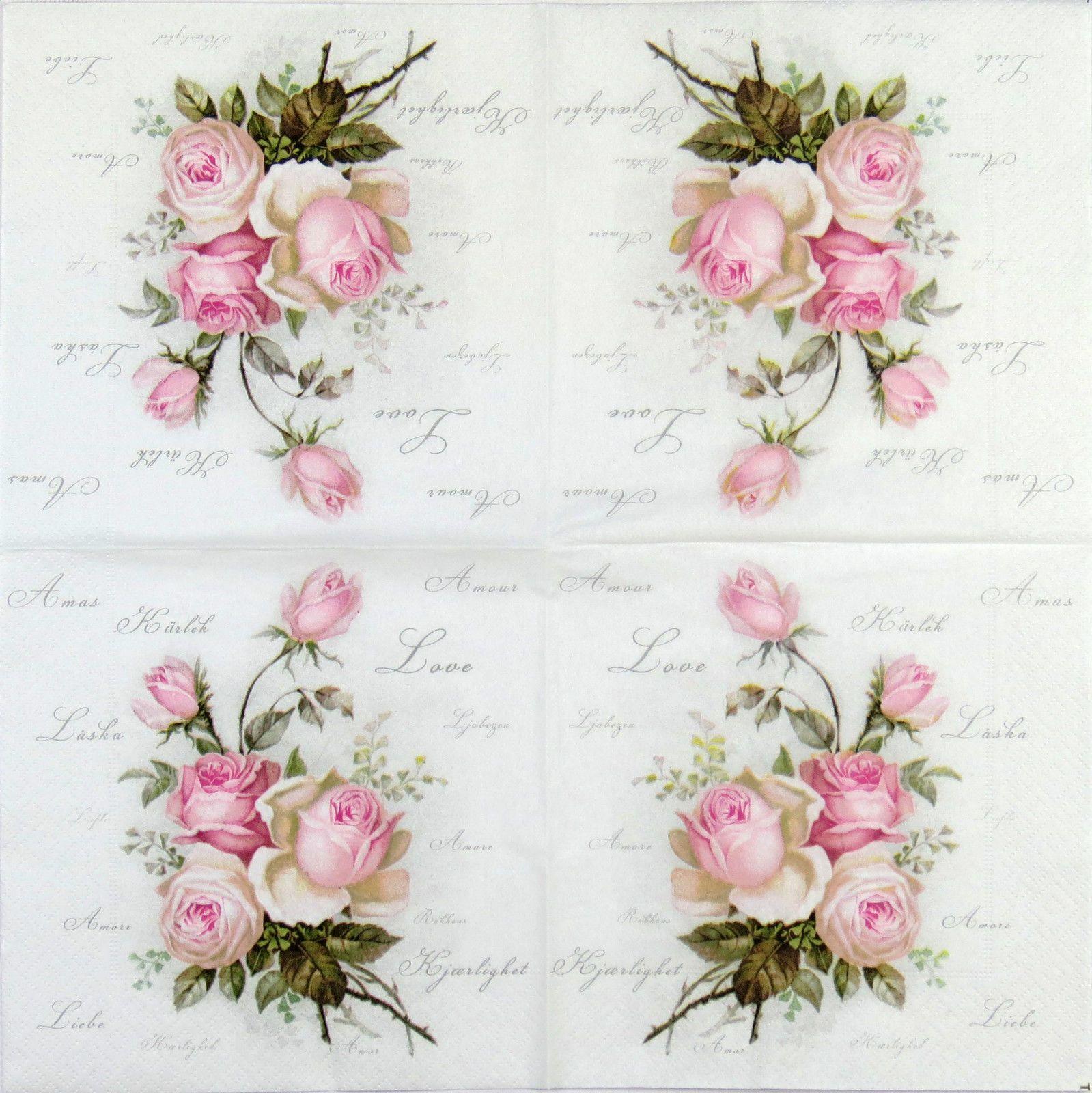4x serviettes en papier pour découpage DECOPATCH Sagen Vintage Wild Rose