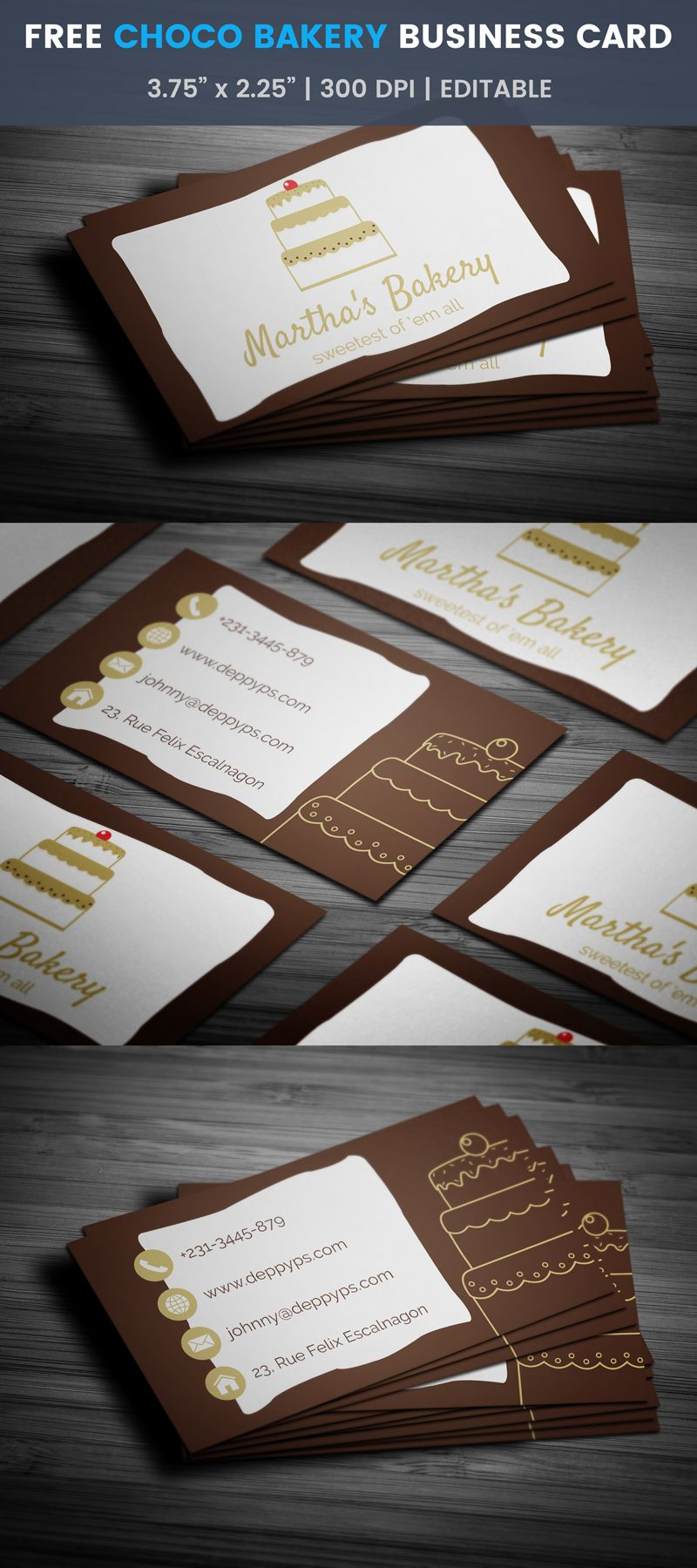 3 Layer Chocolate Cake Bakery Business Card Template Bake Free Business Card Templates Bakery Business Cards Cake Business Cards