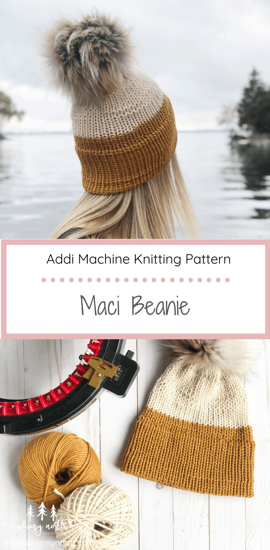 Free Knitting Machine Hat Pattern Maci Beanie Whimsy North In 2021 Circular Knitting Machine Addi Knitting Machine Knitting Machine Patterns