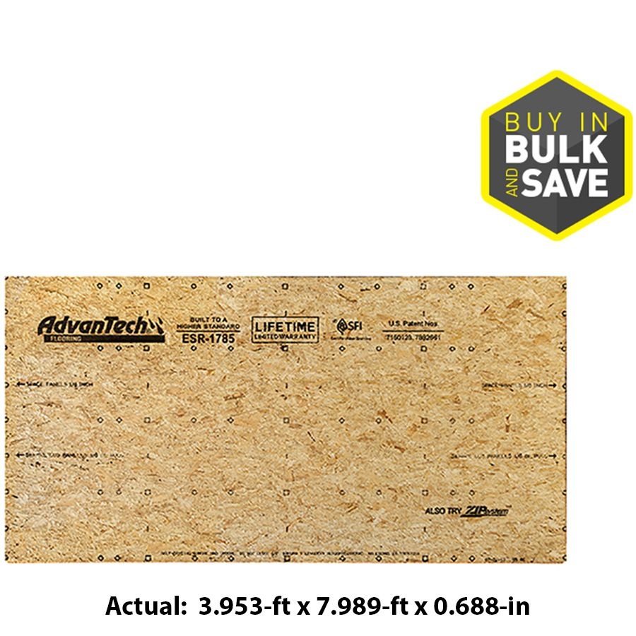 Advantech Flooring 23 32 Cat Ps2 10 Tongue And Groove Osb Subfloor Application As 4 X 8 Lowes Com Tongue And Groove Flooring Osb