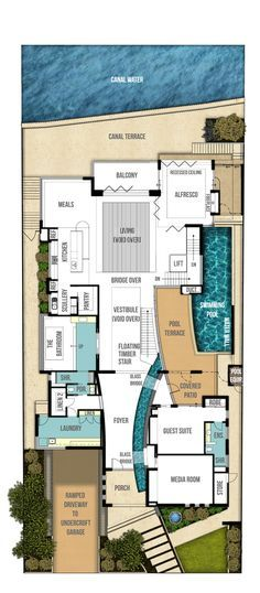 Do It Yourself Home Design: Main Level -- Indoor/outdoor Pond!! Undercroft Home Plans