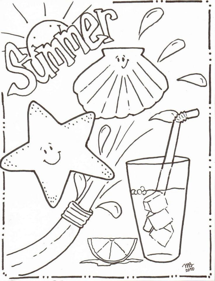 Summer Coloring Pages | Summer crafts, Adult coloring and Wood ...