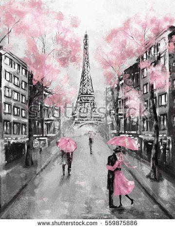 Oil Painting Paris European City Landscape France