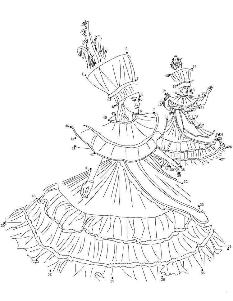 Ausmalbilder Punkte Verbinden Karneval Venedig Children Print