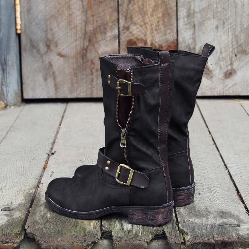 Details about  /Women Knee High Horse Riding Boots Winter Zipper Ladies Low Heel Wide Calf Shoes