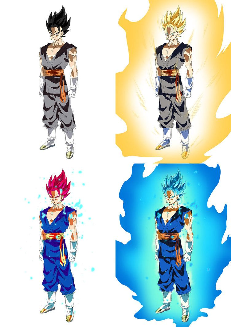 dragon ball super forms of vegito by moxie2d on deviantart
