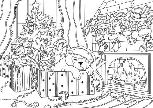Cats And Dogs Cozy Christmas Christmas Coloring Pages Dog Coloring Page Coloring Pages