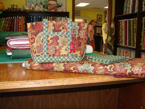 This bag was constructed to carry knitting projects and notions!