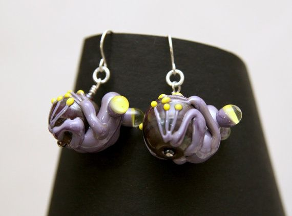 Purple and Yellow Glass Frog Bead Earrings by blancheandguy