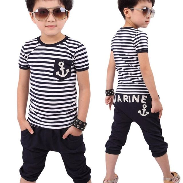 c981f10f185f Bambino ragazzi abbigliamento nuova estate abbigliamento per bambini ragazzi  navy t-shirt a righe e pantaloni tute più basso prezzo vestiti dei ragazzi