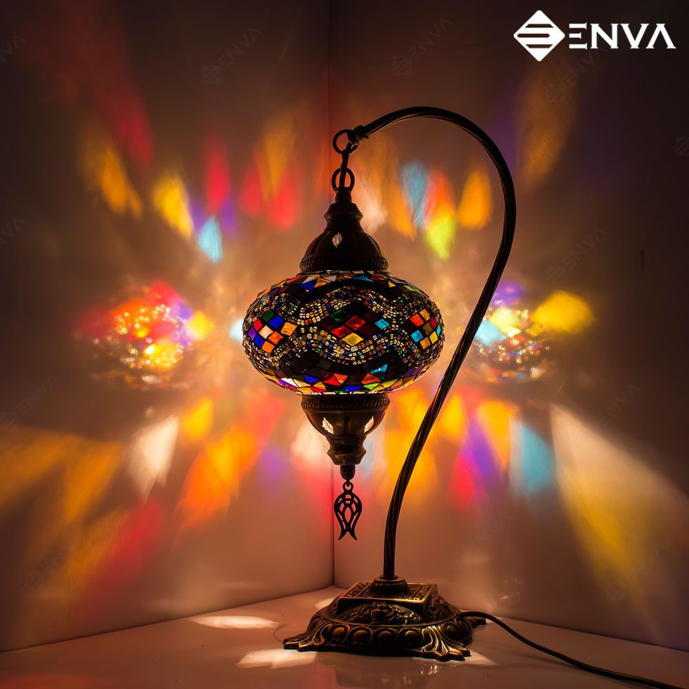 Turkish Moroccan Style Mosaic Multicolour Lamp Desk Table Lamp Light Large Globe