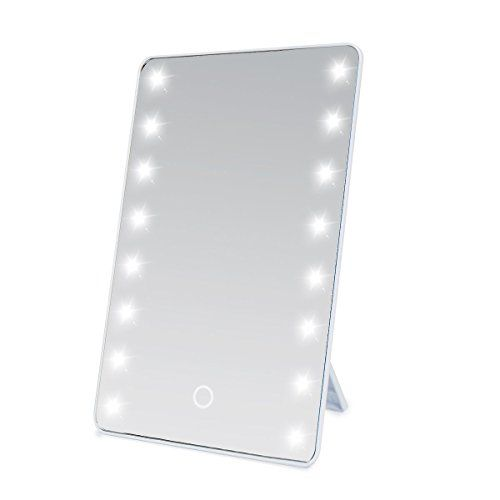 RINE COOOO LED Touch Screen Makeup Mirror 16 LEDs Lighted Make Up Cosmetic  Mirror Adjustable Vanity Tabletop Countertop Mirror (White) * Visit The  Image ...