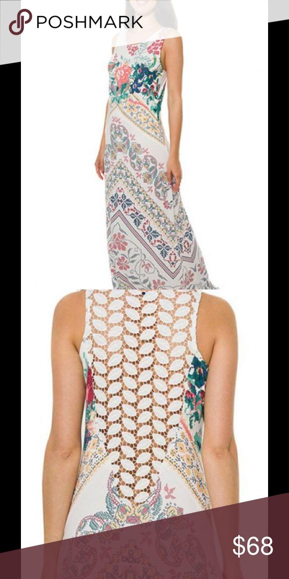 smash crochet back maxi dress gorgeous vintage floral print with