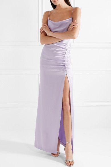 Alice + Olivia | Diana ruched satin maxi dress | NET-A-PORTER.COM ...