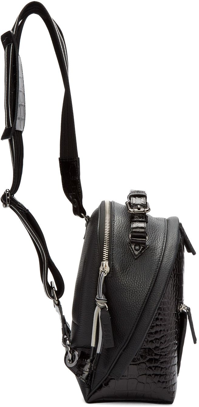 MSGM - Black Croc-Embossed Small Backpack