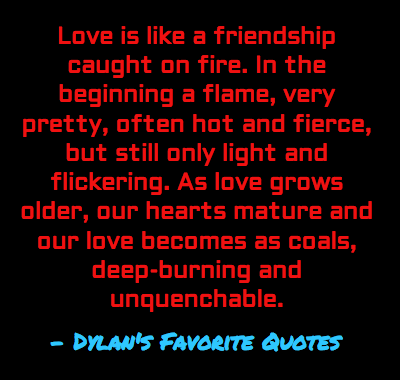 """""""Love is like a friendship caught on fire"""""""