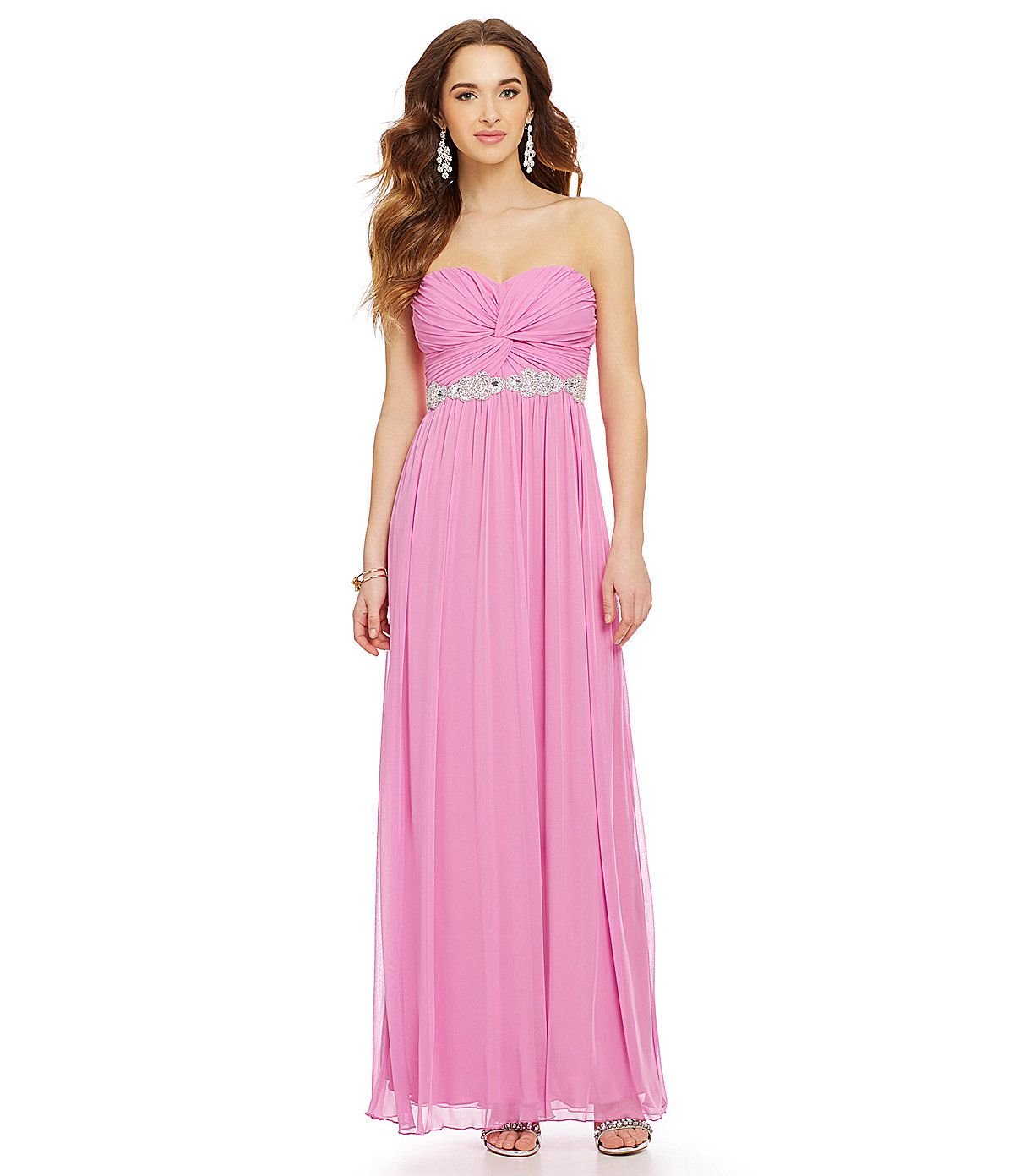 Jodi Kristopher Strapless Knot Front Long Dress | Dillards.com | How ...