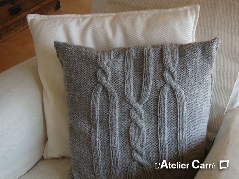 tricoter housse coussin laine