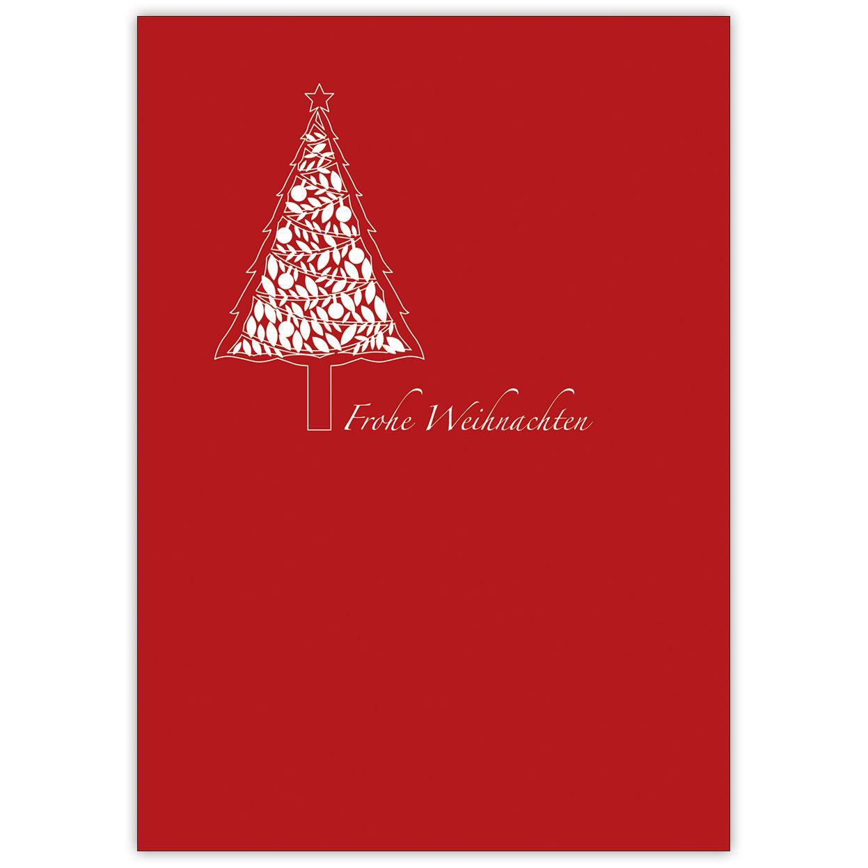 Entzückend Edle Weihnachtskarten Basteln Sammlung Von Weihnachtskarte In Rot Mit Wunderschönem, Grafischen Weihnachtsbaum: