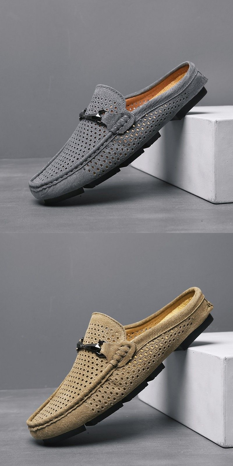 Prelesty Autumn Breathable Casual Men Driving Shoes Backless Loafers Open Backs is part of Gents shoes, Sneakers men fashion, Dress shoes men, Backless loafers, Mens casual shoes, Leather shoes men -