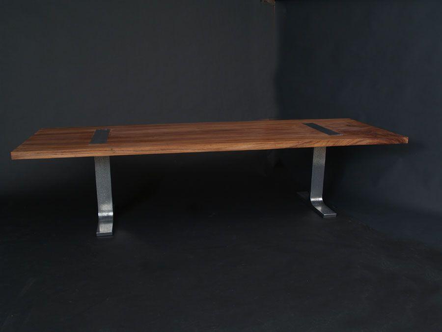Parota Wood Dining Table With Cast Aluminum Legs