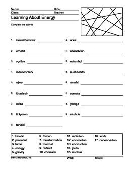 Energy Word Search and Word Scramble Printable Worksheets | Classroom
