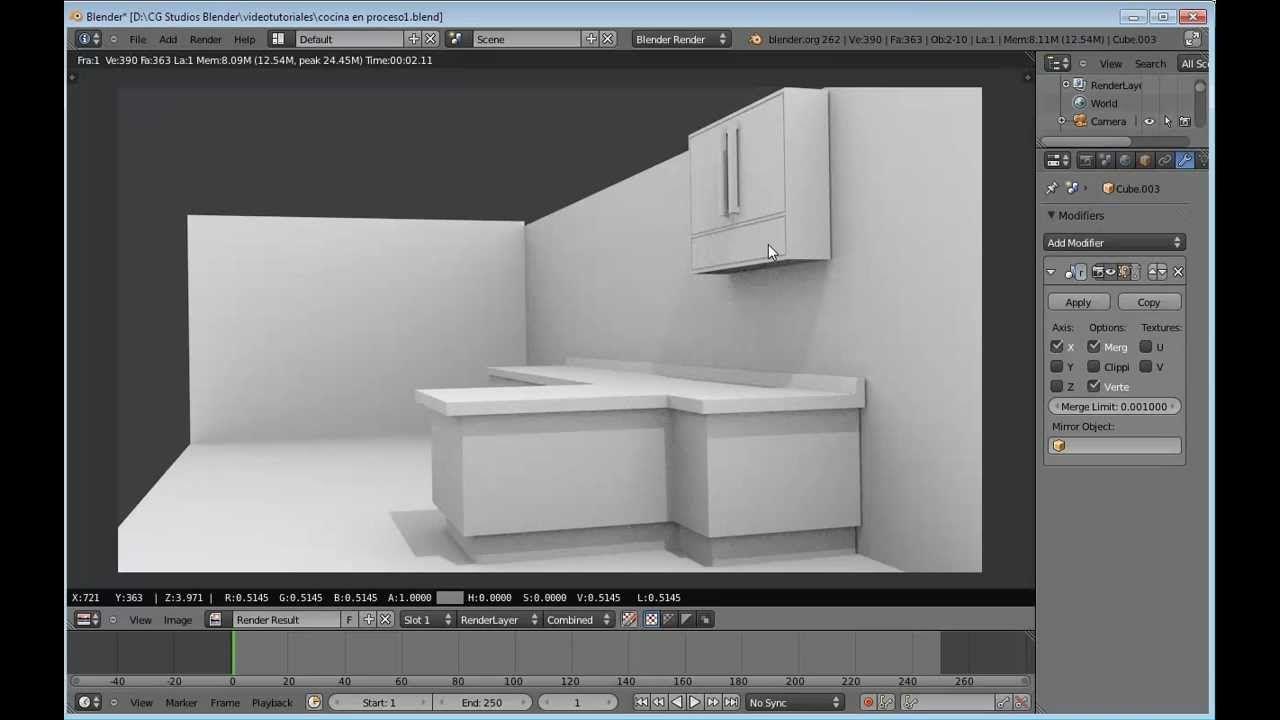 Modelado De La Una Cocina En Blender 3d 2 6 Videotutorial De Cg Studios Blender Blender 3d Videos Tutoriales Diseno 3d