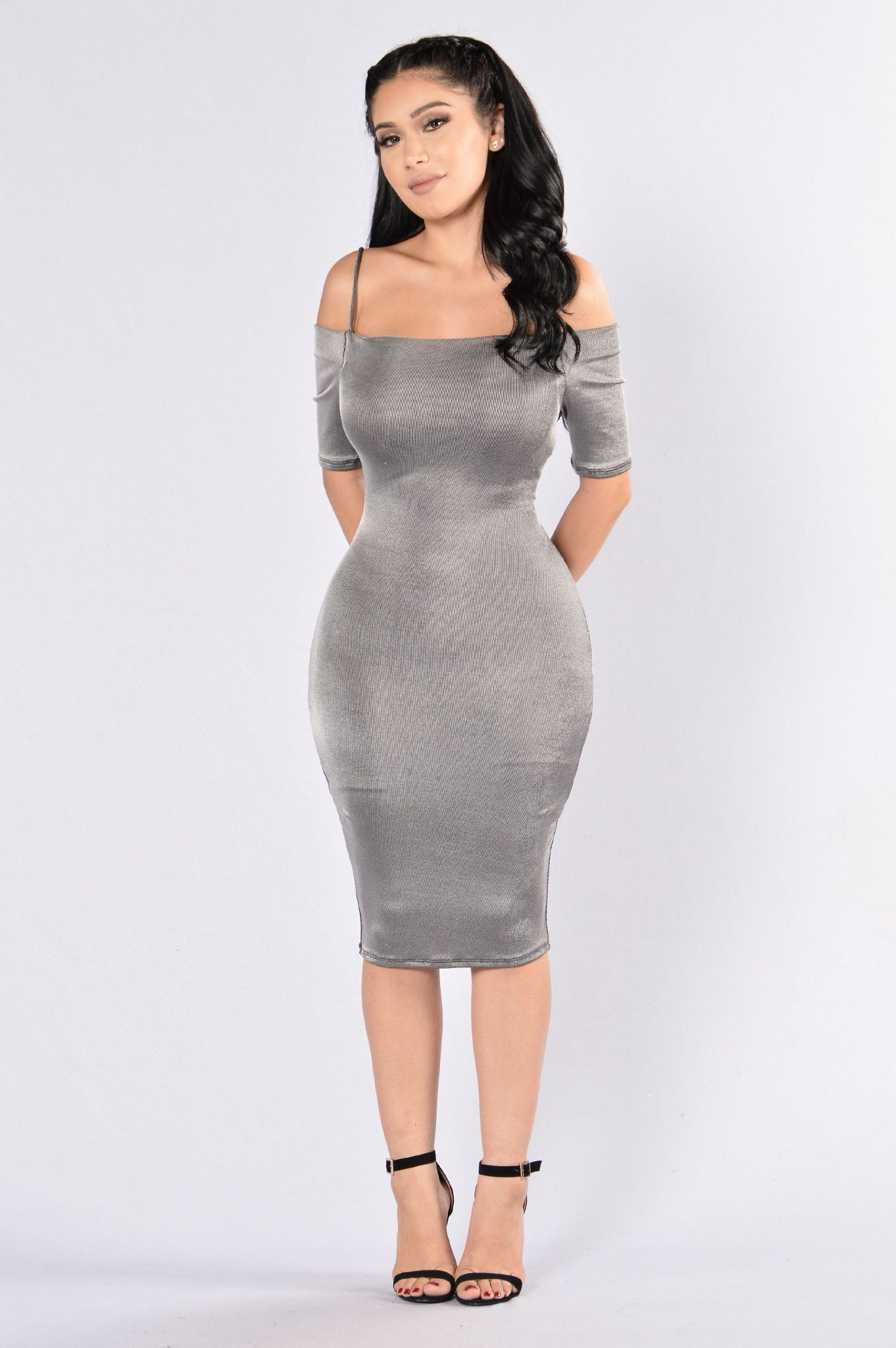 64066beebe0d Available in Grey - Off Shoulder Dress - Midi Length - Body Con - 63%  Polyester