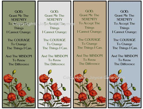 Printable Bookmarks, Poppies And Serenity Prayer, Original Art