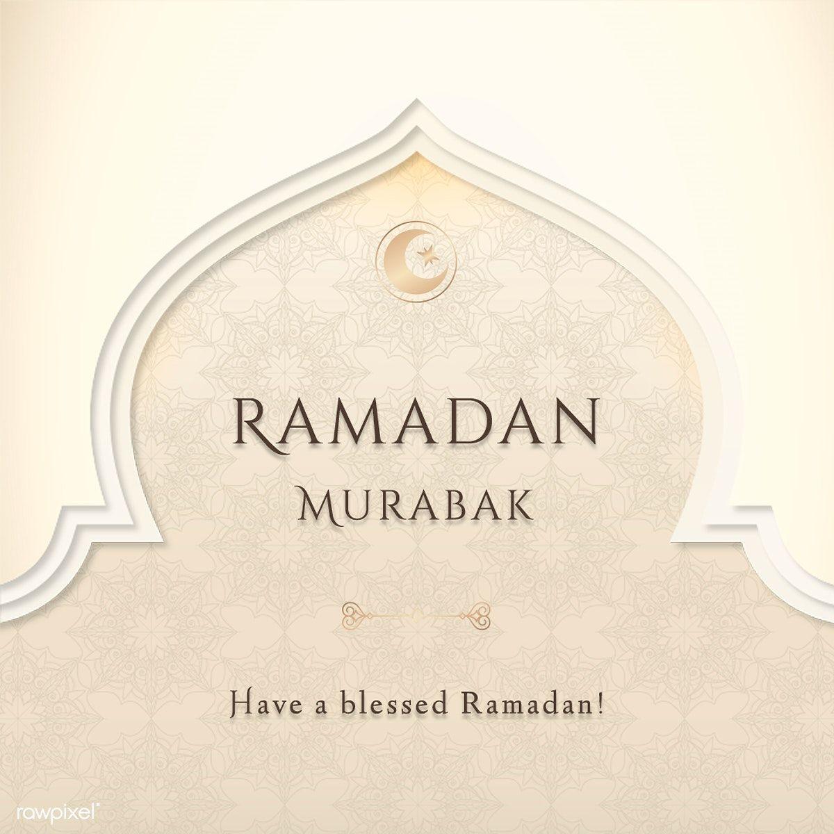 Download Premium Illustration Of Festive Ramadan Mubarak Blessing Card In 2020 Eid Mubarak Greeting Cards Eid Mubarak Greetings Ramadan