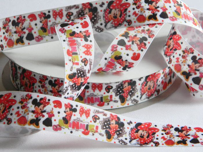 "Minnie Mouse Ribbon 5 yards of 1"" White Grosgrain Ribbon w/ Polka Dots Red and Black For Hair Bow Birthday Party Favor Tie Minnies Bowtique by HouseofHairDecor on Etsy"