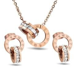 Roman Numeral Rose Gold Jewelry Set Stainless Steel