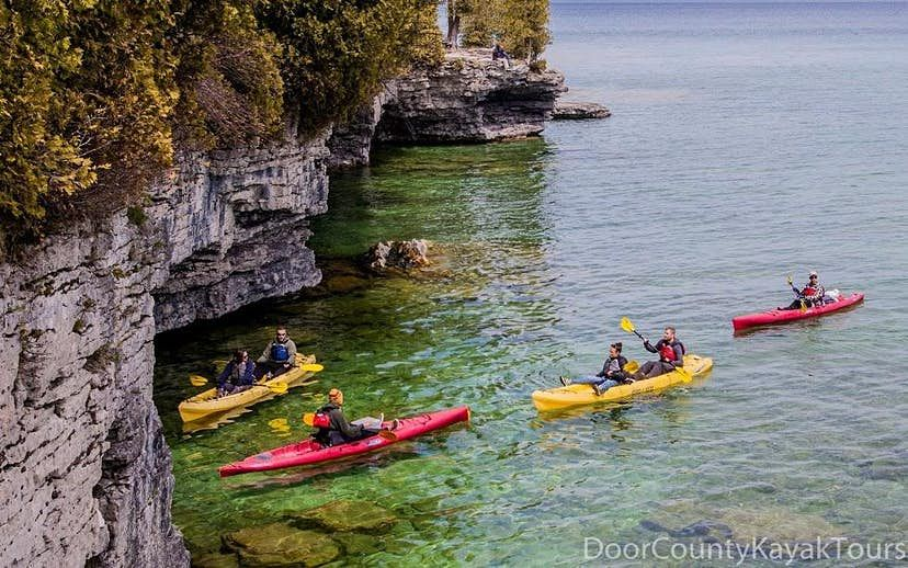 Here Are Just A Few Of The Kayaking Gems Around The Door County Peninsula Cave Point County Park Garrett Bay Peninsula S In 2020 Kayak Tours County Park Door County