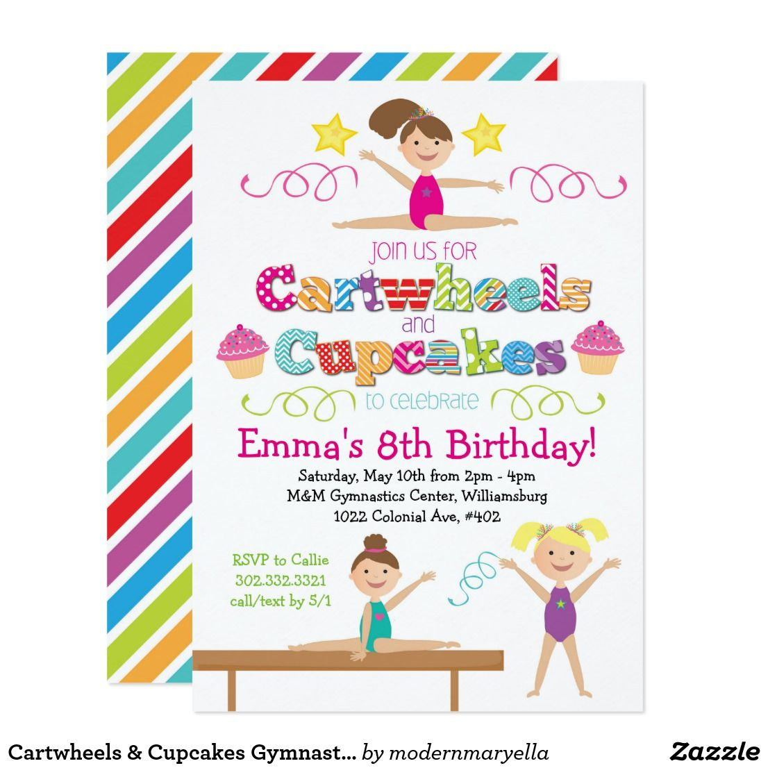 Cartwheels & Cupcakes Gymnastics Birthday Party Invitation | { Happy ...