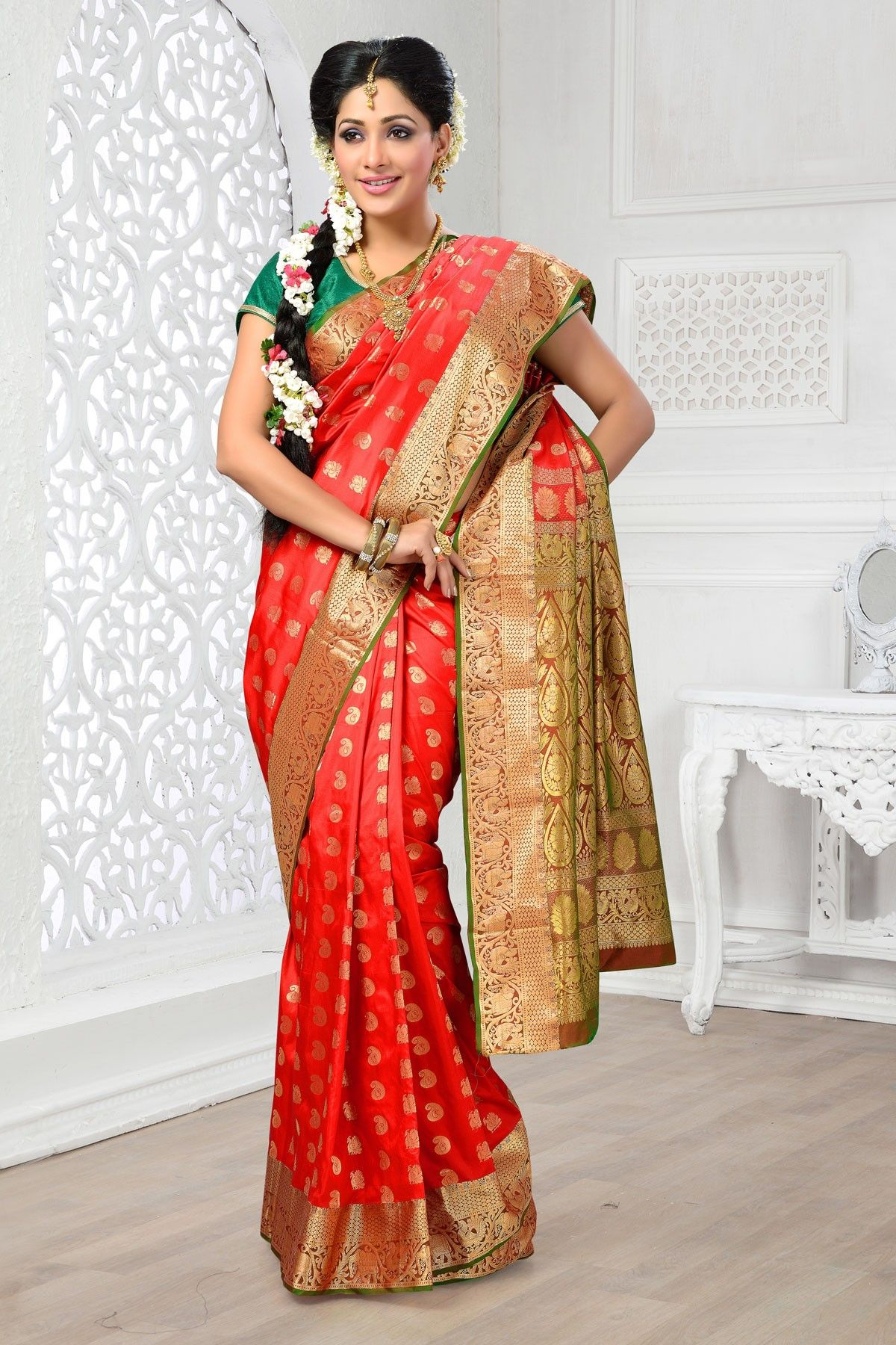 588cf704b7 Red colour Indian Art silk Saree with green & gold border Designer Silk