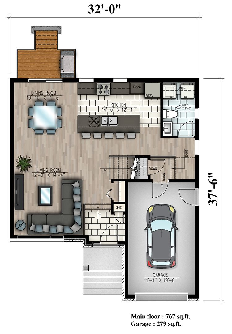 3 Bedroom Contemporary Cottage House Plan 1580 Sq Ft House Plans Cottage House Plans Small House Plans