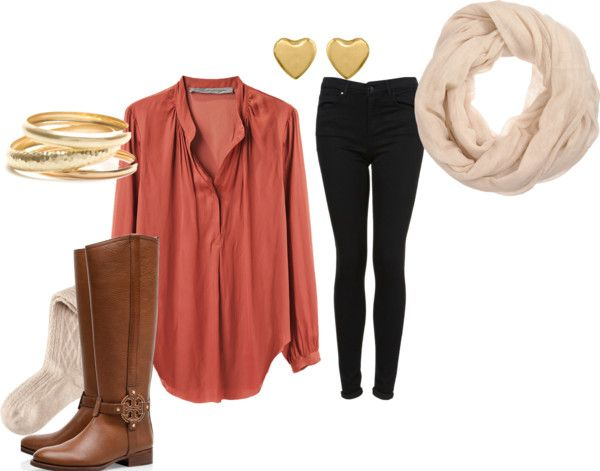 "classic fall oufit with this upcoming season's ""it"" color: rustic blush  -pair a flowy light blouse with skinny jeans and riding boots  -for accessories: add a neutral scarf, bangles, stud earrings and a cute gold headband  -keep it young and cool with a leather bomber, makes it classic with a touch of edge!"