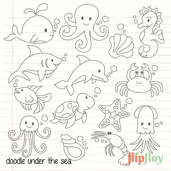 Doodle Cute Under The Sea Animal Instant Download