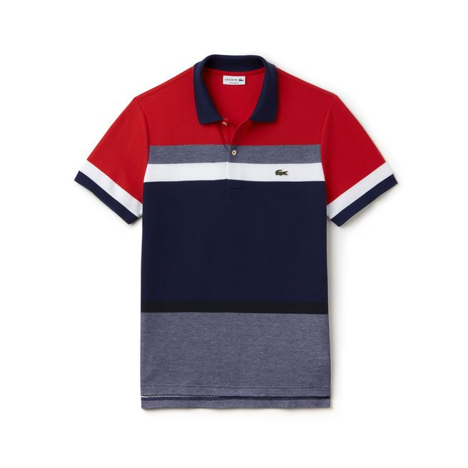 1d7f0cd38c88a Boost your energy with this Lacoste polo in cotton piqué featuring a bold  colorblock. Fashionable men will recognize this piece as a must-have.
