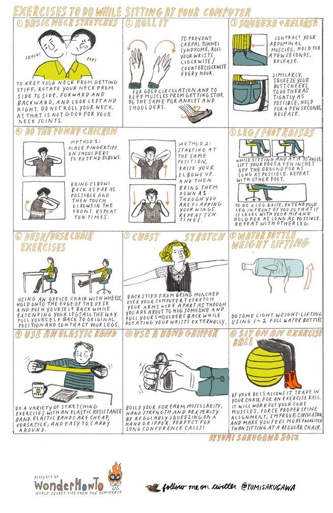 How To 11 Exercises To Do While Sitting At Your Computer Desk Workout Nerd Fitness Exercise