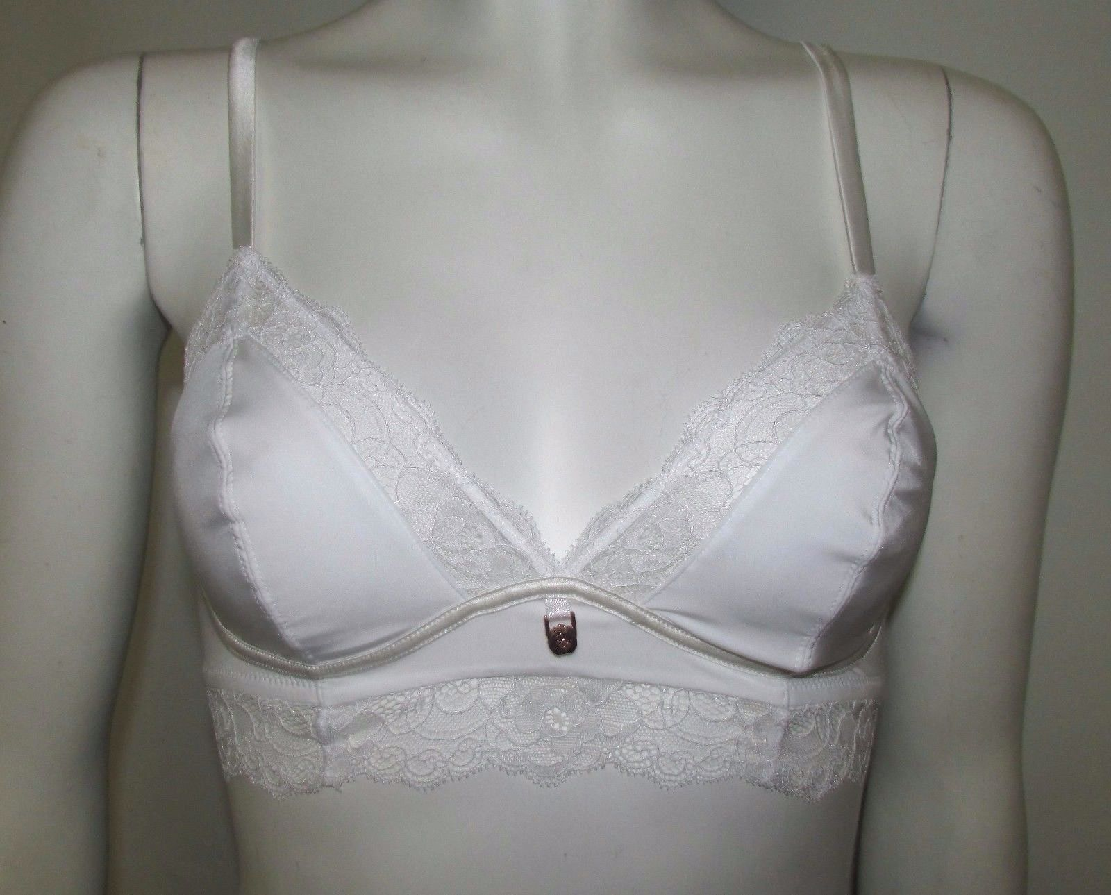 BRALET M/&S AUTOGRAPH WHITE WITH SILK TRIMS /& FRENCH DESIGNED ROSE LACE NON WIRED