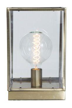 Ellos Home Inbox-pöytävalaisin Pöytävalaisin, jossa lamppu lasilaatikossa. Reunat ja pohja hapetettua messinkiä. Mitat 20x20 cm. Korkeus 32 cm. Kangaspäällysteinen johto, jossa virtakytkin. Johdon pituus 210 cm. Iso kanta E27. Enintään 60 W. Seinäpistoke. Lamppu ei ole mukana.<br> <br><br>