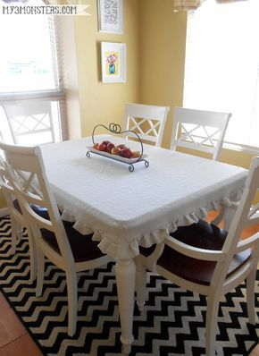 DIY Tailored Tablecloth from a Painters Drop Clothcloth