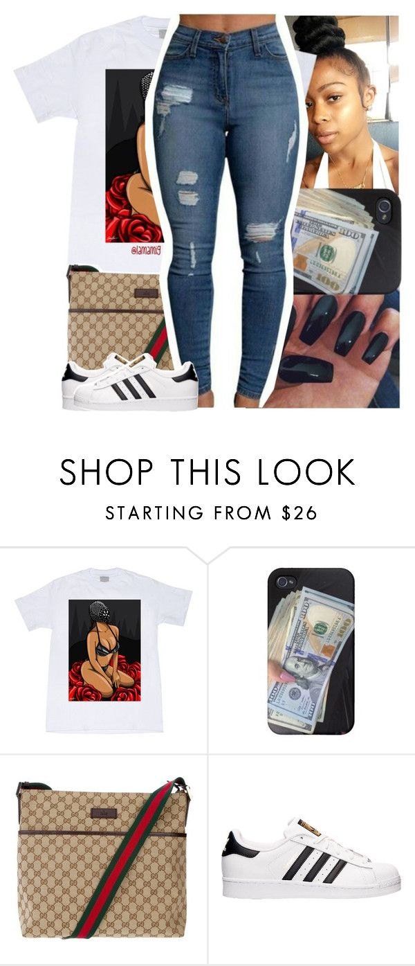 """small world, all her friends know me."" by lamamig ❤ liked on Polyvore featuring Gucci and adidas"