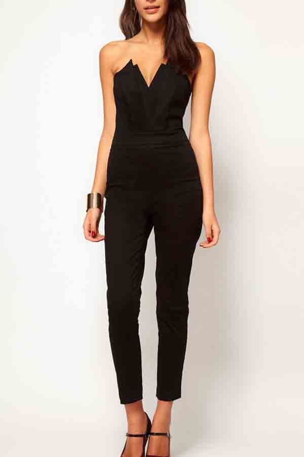 b99b79b5ec1 Black Strapless V-neck Jumpsuit   Rompers And Jumpsuits For Women-Strapless  Jumpsuit