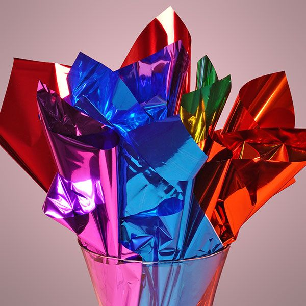 Colored Mirrorized Metallic Film Sheets - if this was crumpled up ...