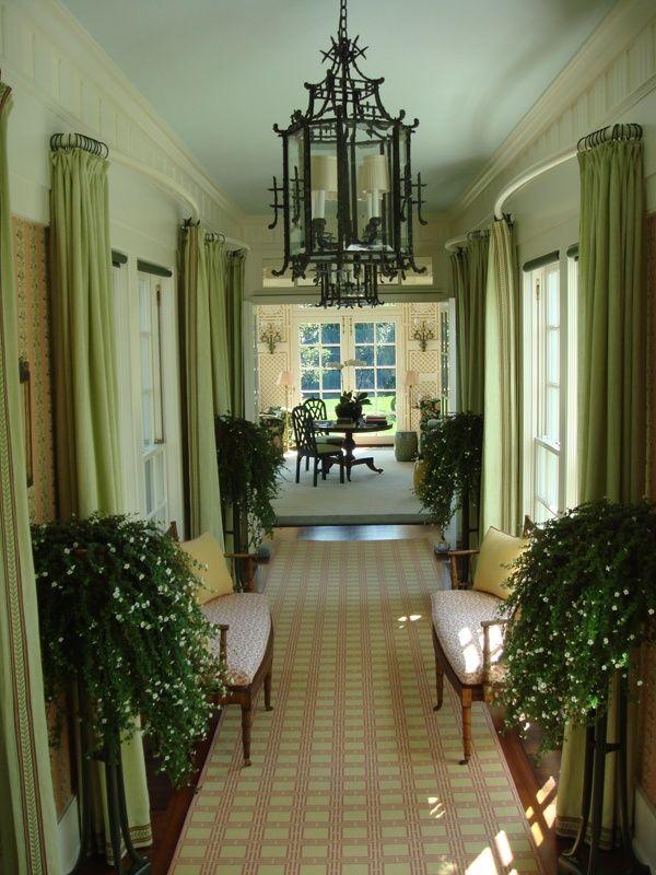 Greenery And Pagoda Lantern In Hallway Richard Keith Langham Design Florida Flair
