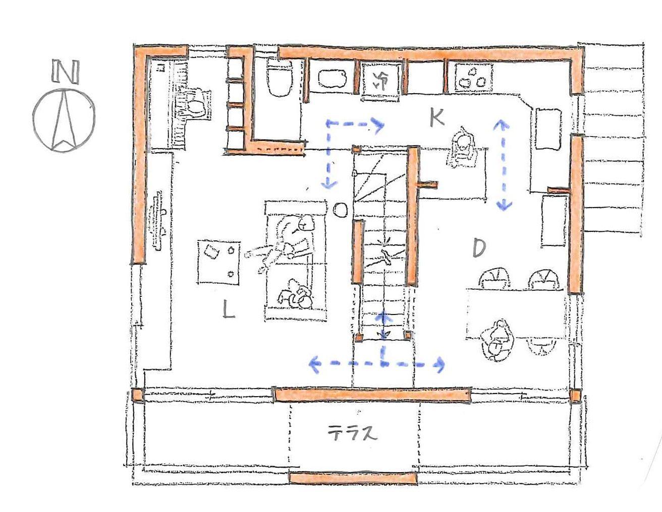階段を間取りの真ん中に置く 1 3階建て 間取り 間取り 平面図